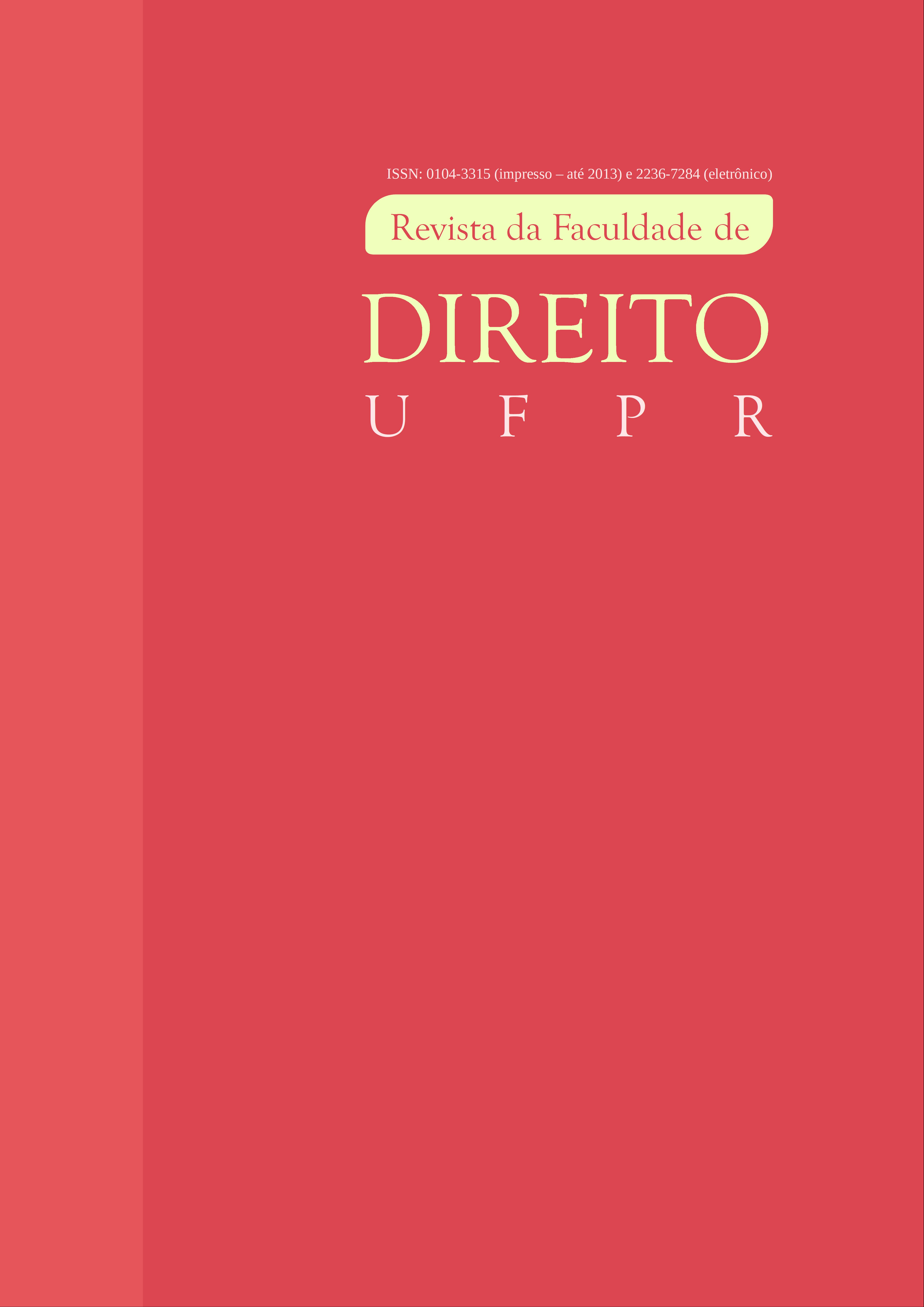 Capa da Revista da Faculdade de Direito UFPR. Desde 1953. Qualis A2. ISSN 2236-7284.